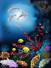 Fototapeta na wymiar The underwater world with dolphins and plants