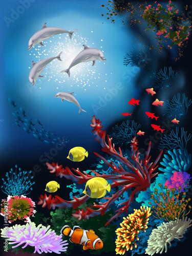 podwodny-swiat-z-delfinami-i-roslinami