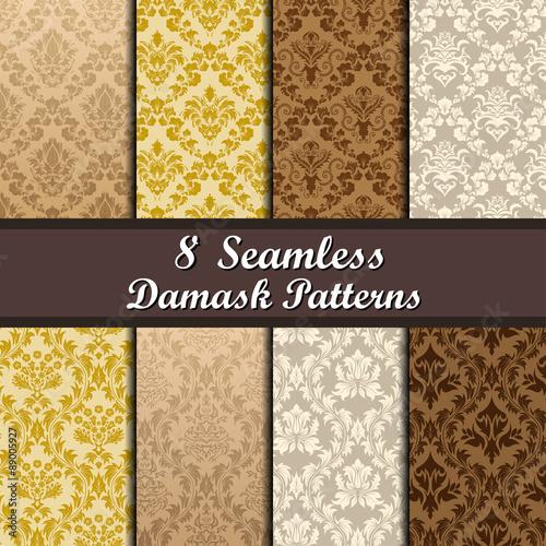 Poster Artificiel Set of Damask Seamless Patterns