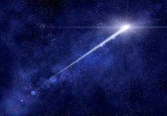 Shooting star at sky