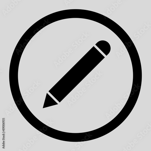 Photo Pencil flat black color rounded vector icon