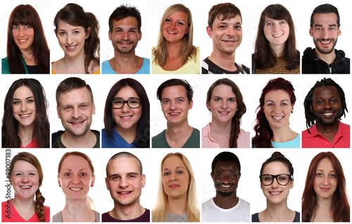 Fotografia  Portrait Collage multikulturell Jugendliche Gruppe Freisteller