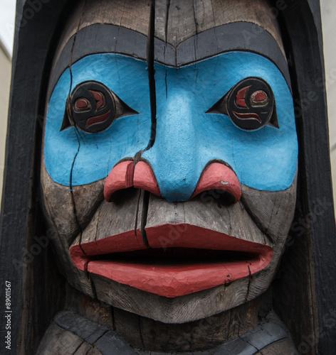 Totem pole in Duncan British Columbia Wall mural