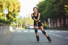 Cheerful Girl On Roller Skates