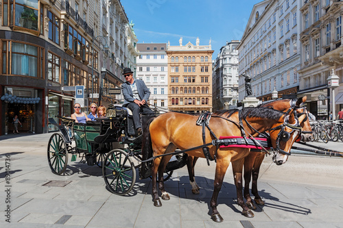 Leinwand Poster Vienna, Graben, fiaker ride