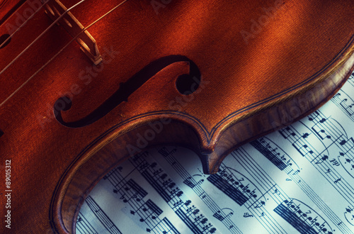obraz PCV old and rare violin on a note sheet