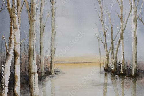 oryginalna-akwarela-drzewa-przy-brzegu-jeziora