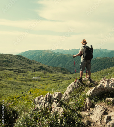 Male hiker with backpack Wall mural