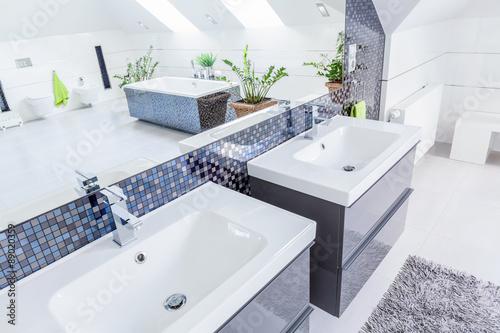 Fotografía  Two basins in bathroom