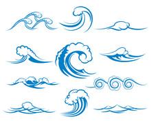 Waves Of Sea Or Ocean Waves, Vector Illustration
