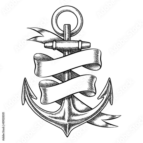 Fotografiet Vector hand drawn anchor sketch with blank ribbon