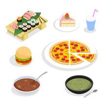 Food Isometric Icons. Hamburgers And Sushi, Cake Pizza