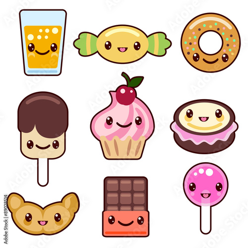 Photo  Candy kawaii food characters