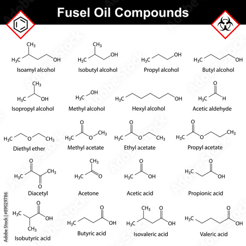 Organic compounds of fusel oil Billede på lærred