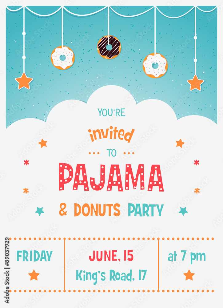 Photo Art Print Pajama And Donuts Kids Party Invitation Card