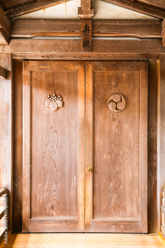 Japanese Wooden Door with Sigils Wallpaper Mural