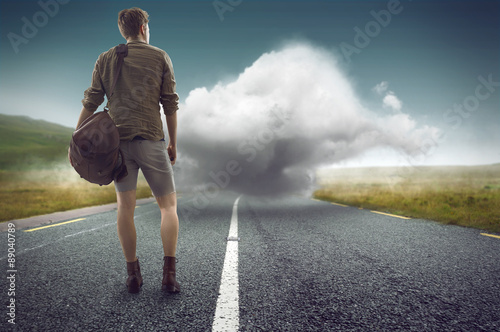 Fényképezés  Man faces a cloud on the street