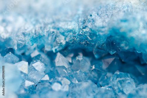 Fotografie, Obraz  blue crystals Agate SiO2. Macro