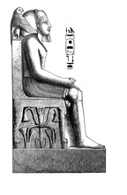 Antique Egypt , Pharaoh Statue, Engraving Middle '800