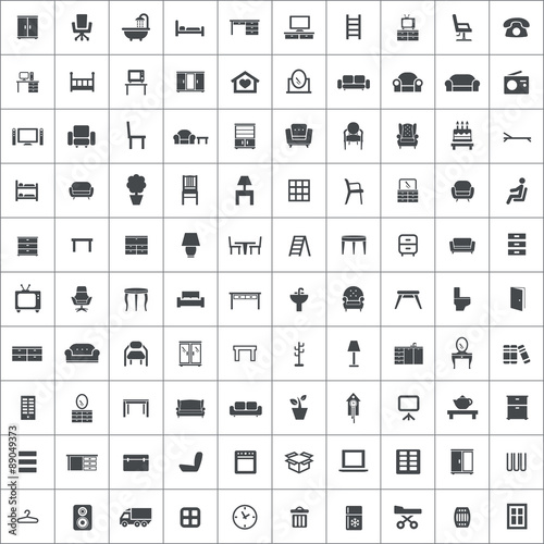 Fotografía  furniture 100 icons universal set