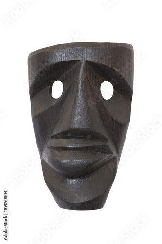 Photo  Wooden sardinian mask / Black mask carved in wood, it is a sardinian handmade pr
