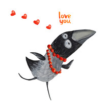 Crow In Beads With Hearts. Love You. Illustration. Hand Drawing