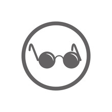 Glasses With Black Round Lenses Vector Icon Isolated.