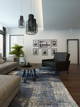 Modern Cozy Living Room Interior With Gray Couch
