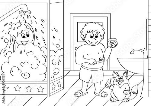 Fotobehang Cartoon draw ludzie,miasto,ekologia,byk