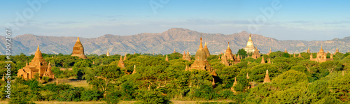 Panoramic landscape view of sunrise with ancient temples at Baga Canvas Print