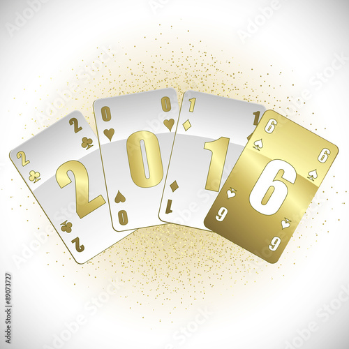 Staande foto Retro sign White and gold cards 2016
