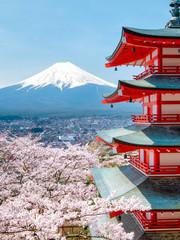 Panel SzklanyChureito Pagode mit Mount Fuji im Hintergrund in Japan