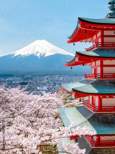 Poster Tokyo Chureito Pagode mit Mount Fuji im Hintergrund in Japan