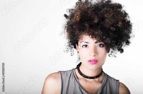 Headshot Brunette Hispanic Model Afro Like Hair Dark Eyes Black