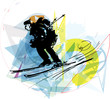 Skiing sketch illustration