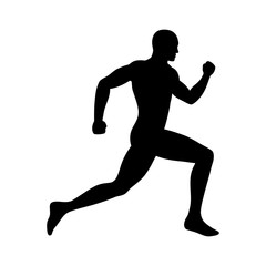 Man running / sprinting silhouette flat icon for exercise apps and websites