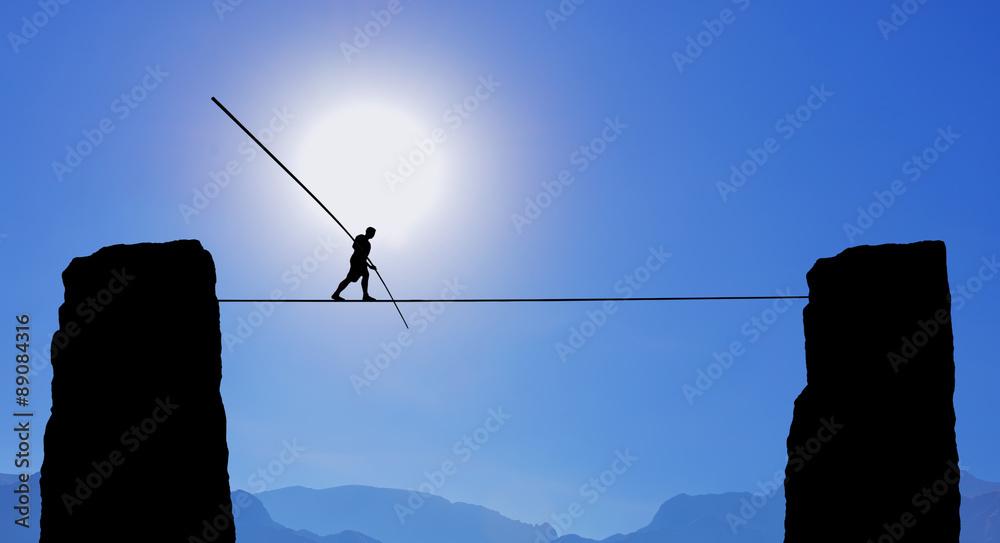 Fototapeta Tightrope Walker Balancing on the Rope