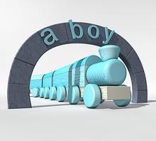"""Blauwe Houten Speelgoed Trein Onder Poort Met Engelse Tekst """"een Jongen"""""""