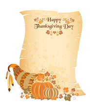 Thanksgiving Day Scroll With Cornucopia
