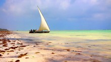 Krajobraz łodzi Rybackich W Zanzibarze Tanzanii