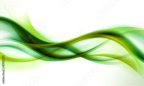 Poster Fractal waves abstract green wave background