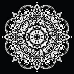 FototapetaMehndi, Indian Henna tattoo white pattern on black background