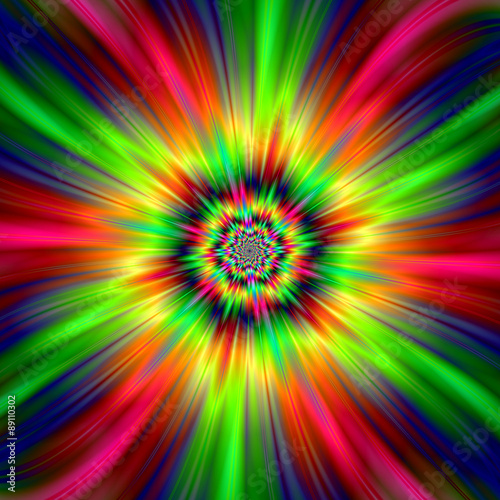 Poster Psychedelic Psychedelic Star Burst / An abstract fractal image with a colorful star burst design in red, pink, yellow, green and blue.