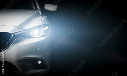 Modern luxury car close-up banner background