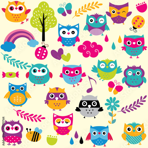 In de dag Uilen cartoon owls and elements clip art set