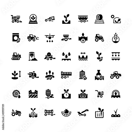 Photo  Set icons of agriculture