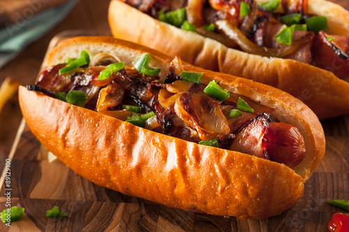 Fotografie, Tablou Homemade Bacon Wrapped Hot Dogs