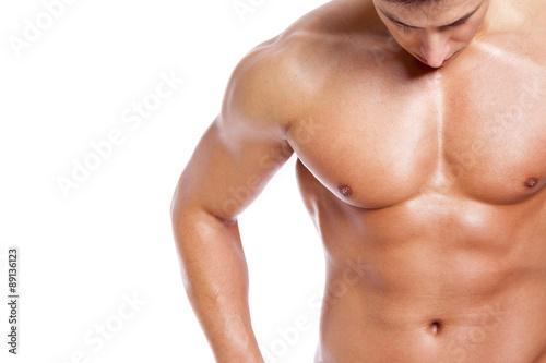 Man torso on white background Fototapeta
