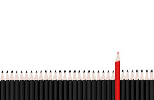 Row Of Black Pencils With Red Pencil Standing Out.