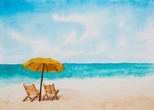 Watercolor Illustration,Beach.